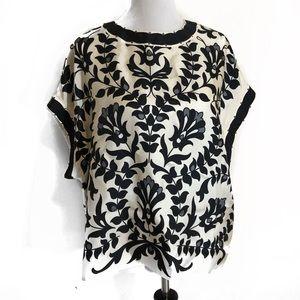Chloé Black & White Short Sleeve Silk Top Size L